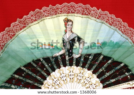 Fancy Fan close-up - hand-painted on cotton fabric - stock photo