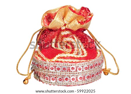 Fancy Gift Pouch, isolated, white - stock photo
