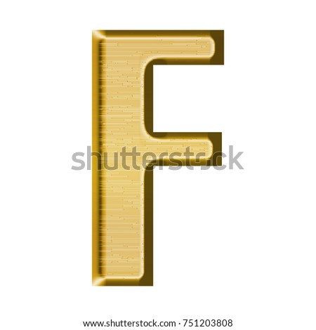 Fancy Gold Metal Uppercase Or Capital Letter F In A 3D Illustration With Golden Yellow