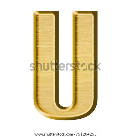 Fancy Gold Metal Uppercase Or Capital Letter U In A 3D Illustration With Golden Yellow