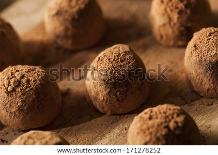 Fancy Gourmet Chocolate Trufffles on a Background - stock photo