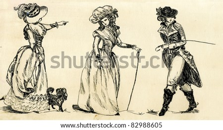 fancy man and woman 19 century. part 2 - stock photo