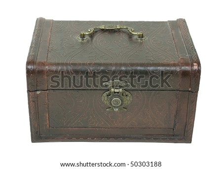 Fancy pressed leather box with antique lock used to store items - path included
