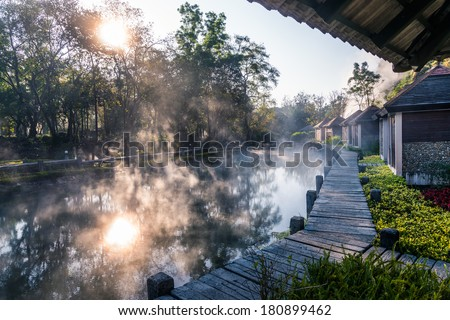 Fang Hot Spring National Park is part of Doi Pha Hom Pok National Park in Chiang Mai, Thailand - stock photo