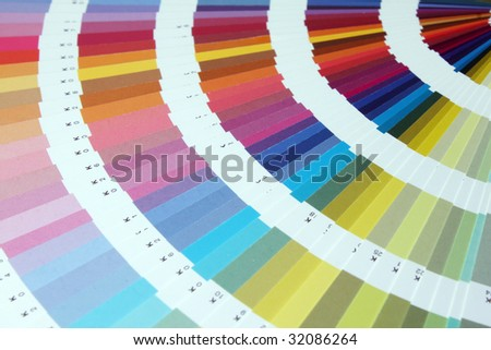 Fanned array of brilliant color swatches 3