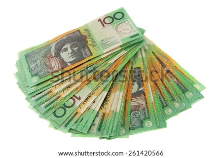Fanned out $100 notes - Australian Money - Aussie currency - stock photo