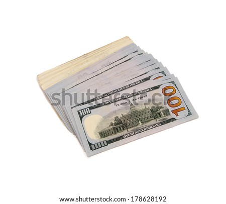 Fanned Stack Of United States One Hundred Dollar Federal Reserve Notes. Reverse Side Showing. - stock photo