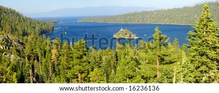Fannette Island Lake Tahoe, emerald bay - stock photo
