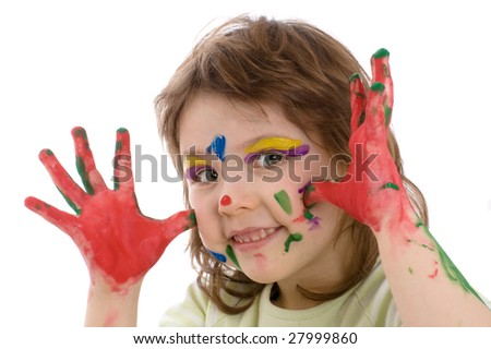 Fanny girl with painted hands and face, isolated on white - stock photo