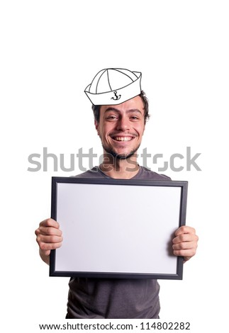 fanny smiling guy showing sign with sailor's hat on white background