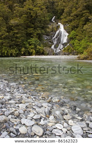 Fantail falls near Haast Pass on the South island of New Zealand Australasia - stock photo