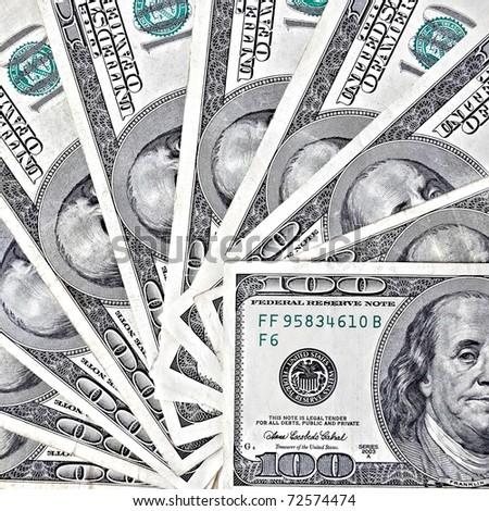 Fantail of hundred dollars - stock photo