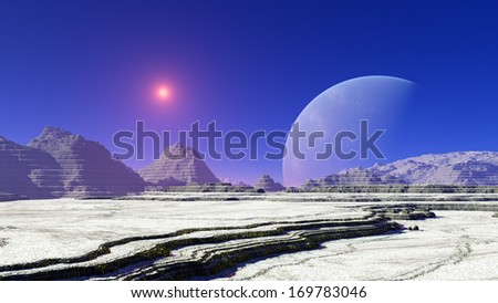 Fantastic alien landscape snowy mountainous terrain with a star and a huge planet in blue sky - stock photo