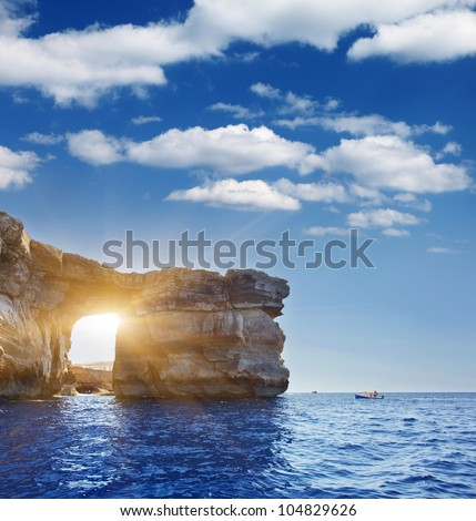 Fantastic Azure Window, famous stone arch on Gozo island, Dwejra. Malta - stock photo