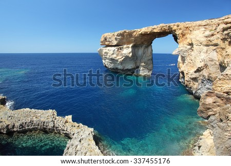 Fantastic Azure Window, famous stone arch on Gozo island, Dwejra. Malta - stock photo