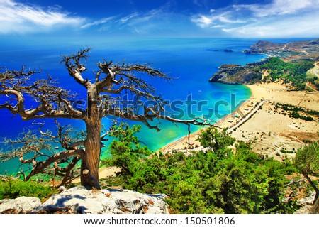 fantastic beaches of Greece - Tsambika bay on Rhodes island  - stock photo