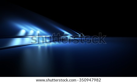 Fantastic blue background with spotlights - stock photo