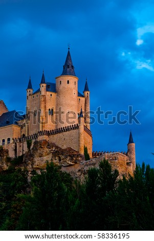Fantastic castle and residence  of kings of  the medieval epoch - stock photo