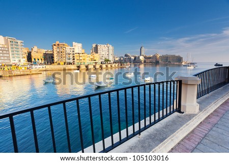 Fantastic city landscape on the seaside with boats. Sliema. Malta, Europe - stock photo