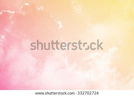 fantastic cloud and sky on sweet gradient color with grunge paper texture - stock photo