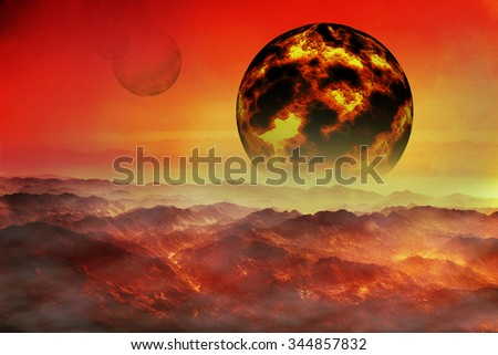 fantastic collage fiery planet on a red sky - stock photo