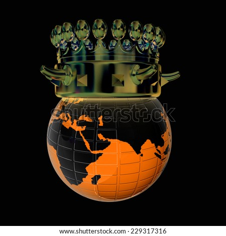 Fantastic crown on earth isolated on black background  - stock photo