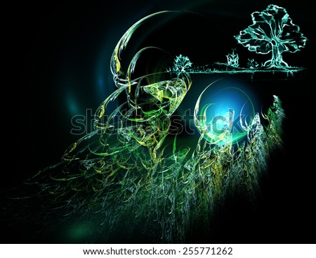 Fantastic drawing with the landscape - stock photo