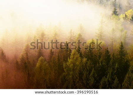 Fantastic dreamy sunrise above deep valley hidden in the rocky mountains . Beautiful spring misty day - stock photo