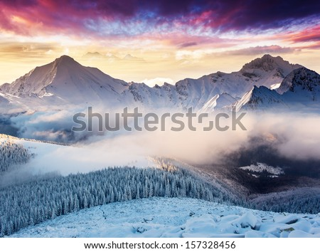 Fantastic evening landscape in the Swiss Alps. Colorful overcast sky. Europe. Beauty world.  - stock photo