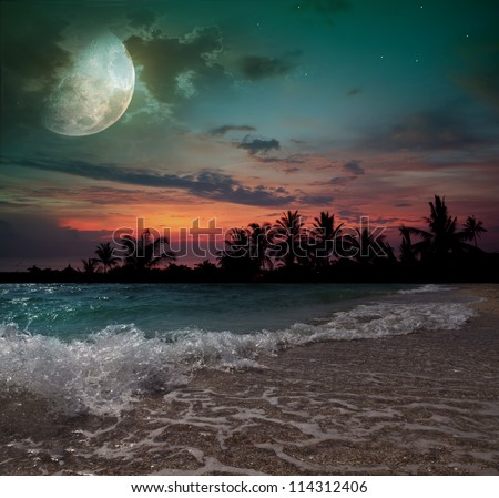 Fantastic evening on the beach - stock photo