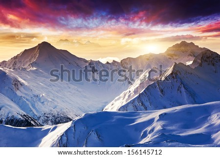Fantastic evening winter landscape. Colorful overcast sky. Austria, Europe. Beauty world. - stock photo