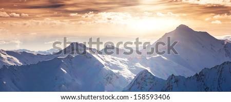 Fantastic evening winter landscape. Colorful overcast sky. Austria, Europe. Beauty world. - stock photo