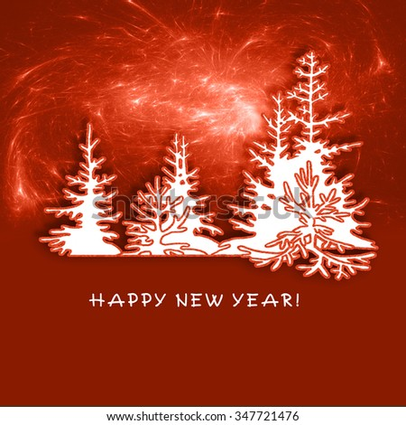 Fantastic fir forest on New Year's Eve. Christmas tree on red background. Illustration with place for congratulatory text. - stock photo