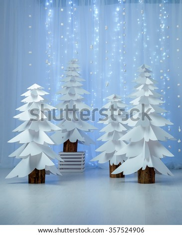 Fantastic forest of paper Christmas trees, vertical  Abstract paper christmas trees