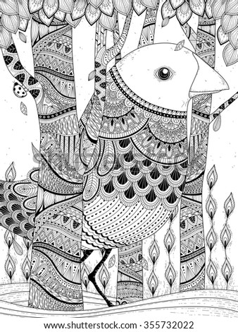 fantastic giant bird coloring page in exquisite line - stock photo