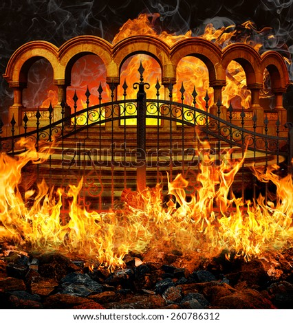 Fantastic hell entrance with gates, stairs and columns in flames and smoke. - stock photo