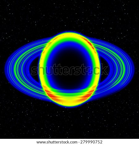 Fantastic infrared scan of planet with dusty ring in far universe, abstract photo - stock photo