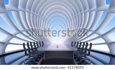 Fantastic interior of a conference of a hall - stock photo