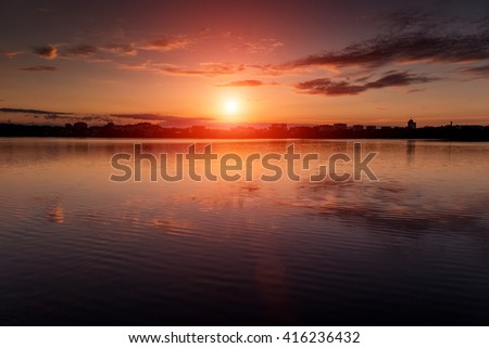 fantastic landscape, multicolor sky over the lake. majestic sunrise. use as background. color in nature. beautiful in nature. series with many color variations. creative images.