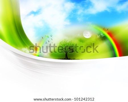 fantastic landscape on a white sheet of paper - stock photo