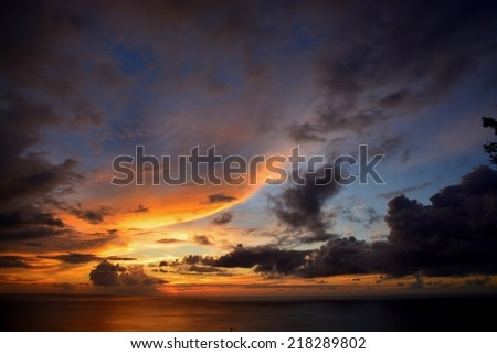 fantastic sky during caribbean sunset