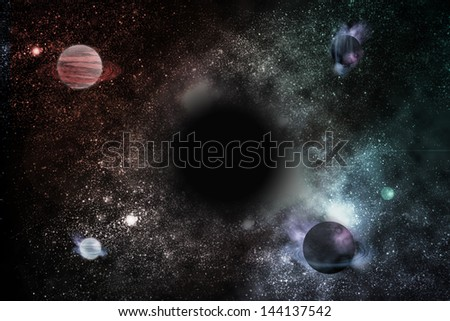 fantastic space and black hole - stock photo