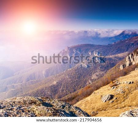 Fantastic sunny day is in mountain landscape. Crimea, Ukraine, Europe. Beauty world. - stock photo