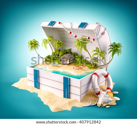 Fantastic tropical island with bungalow and deck chairs in opened wooden box on a pile of sand. 3D illustration