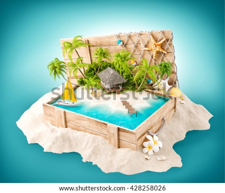Fantastic tropical island with bungalow in opened wooden box on a pile of sand. 3D Illustration