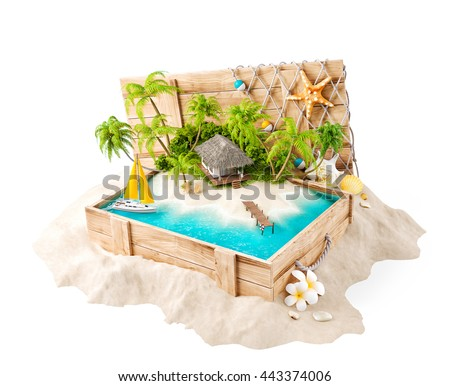 Fantastic tropical island with bungalow in opened wooden box on a pile of sand. Unusual 3d illustration Isolated on white