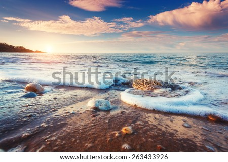Fantastic view azure sea glowing by sunlight. Dramatic morning scene. Location Makauda, Sciacca. Sicilia, southern Italy. Beauty world. - stock photo