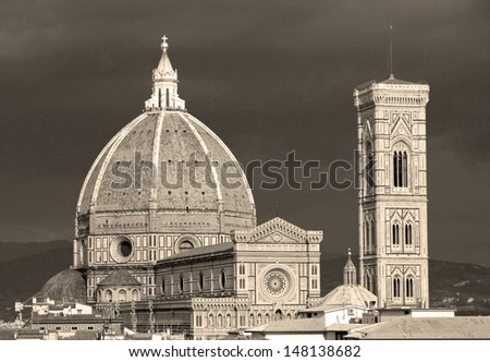 Fantastic view of  cathedral of Florence, Tuscany,  Italy, UNESCO cultural world heritage site - stock photo