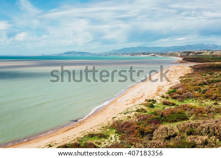 Fantastic view of the azure sea on a sunny day. Picturesque scene. Location place Island Sicily (Sicilia), Natural Reserve Foce del Fiume Platani, Italy, Europe. Mediterranean sea. Beauty world. - stock photo
