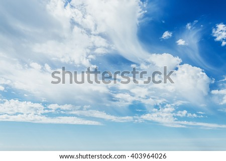 Fantastic view of the azure sky. Clear sky on a sunny day with fluffy clouds. Picturesque and gorgeous scene. Artistic picture. Beauty world. - stock photo